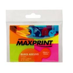 Bloco Adesivo MaxPrint 74170-5 c/ 4 blocos 50 fhs cada 38x50mm Coloridos Neon BT 4 UN