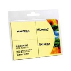 Bloco Adesivo MaxPrint 74986 c/ 4 blocos 100 fhs cada 38x50mm Amarelo BT 4 UN