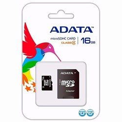 Cartão de Memória 16GB Micro SD Adata AUSDH16GCL4-RA1 Classe 10 c/ Adaptador BT 1 UN