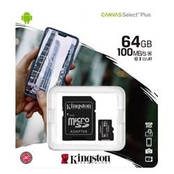 Cartão de Memória 64GB Micro SD Kingston Canvas SDCS2/64GB Clas 10 c/ Adaptador BT 1 UN