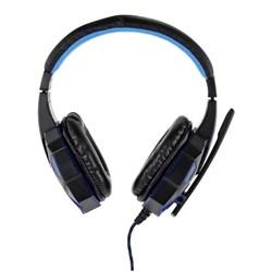 Fone de Ouvido com Microf Gamer Satellite AE-327R Led USB + Plug 3,5mm Preto/Azul CX 1 UN