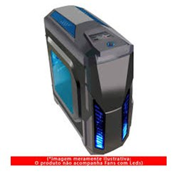 Gabinete Gamer Pixxo HTL017L06S 2 baias c/ Acrílico Preto/Azul s/ Fonte CX 1 UN
