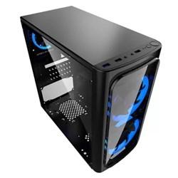 Gabinete Gamer Xwise Discovery 6603 Lateral Full Acrílico c/ Cooler s/ Fonte Preto/Azul CX 1 UN