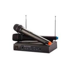 Microfone sem Fio + Receiver Multilaser SP328 Preto CX 2 UN