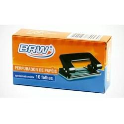 Perfurador de Papéis 2 Furos BRW PF1000 Metal 10Fhs Preto CX 1 UN