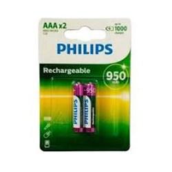Pilha Recarregável AAA Philips 867000153277 Verde 950Mah BT 2 UN