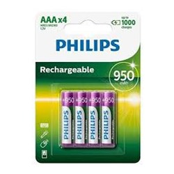 Pilha Recarregável AAA Philips 867000153278 Verde 950Mah BT 4 UN