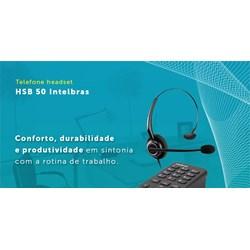 Telefone com Headset Intelbras HSB50 com Base Discadora Preto CX 1 UN